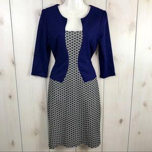 Homeyee Blue Faux Jacket Block Sheath Dress 8